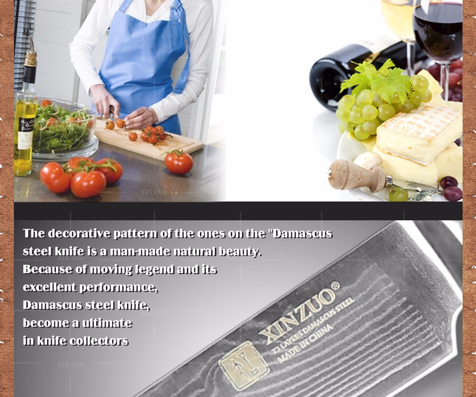"Buy 5"" Utility knife Japanese  Damascus kitchen knife paring knife fruit knife colour wood handle  FREE SHIPPING cheap"