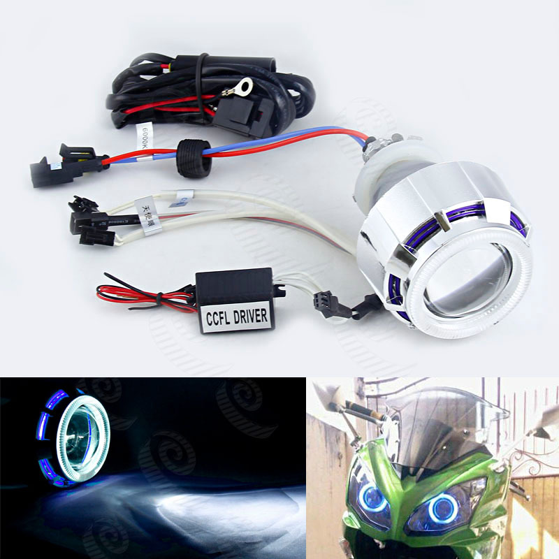 Universal HID Bi-xenon 35W 6000k Headlight Projector Lens With Motorcycle CCFL Double Angel Eyes Devil Two Halos H4  H1 H7 #4036