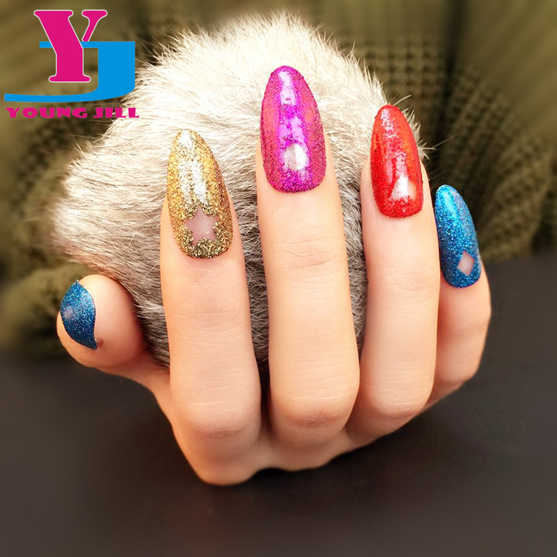 2016 Hot Pretty Fake Nails Unique Marble Pattern UV Art Nails Tips Golden Glitter / Gray and Pink Oval Full Cover Fake Nails(China (Mainland))