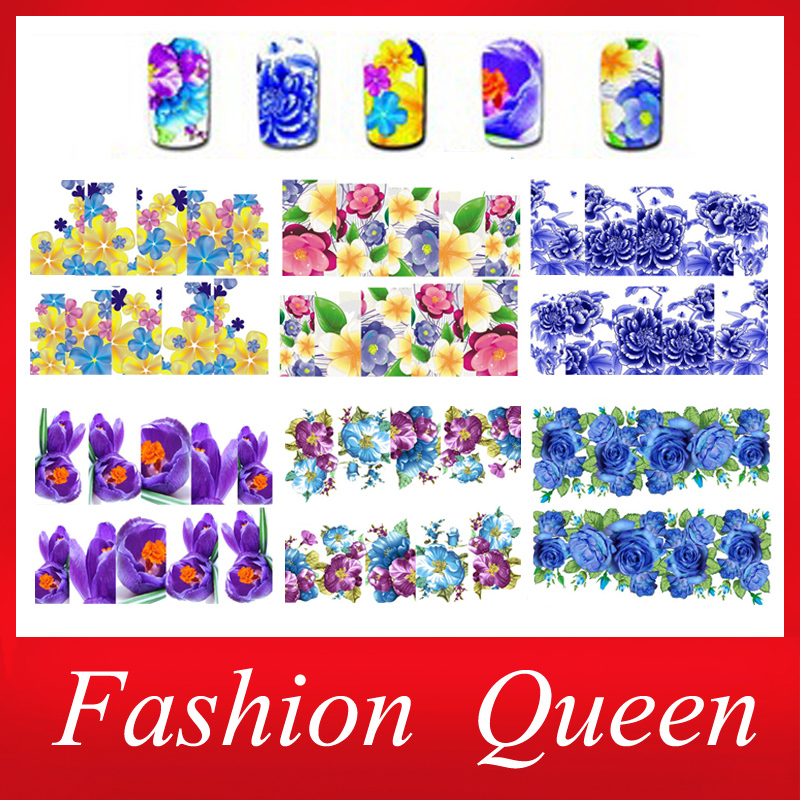 Hot Nail Transfer Water Decals ,6Designs 10sheets Flowers Nail Art Stickers Wraps,DIY Fingernails Nail Decorations Styling Tools(China (Mainland))