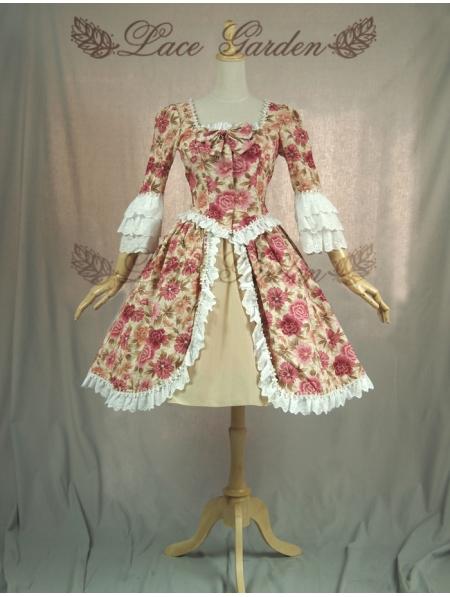 Здесь можно купить  Floral Printed 3/4 Sleeves Sweet Lolita Dress  Одежда и аксессуары