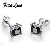 Classic Women Earrings 18K White Gold Plated  AAA+ CZ Diamond Stud Earrings Black and White Crystal Wedding Earrings FL015(China (Mainland))