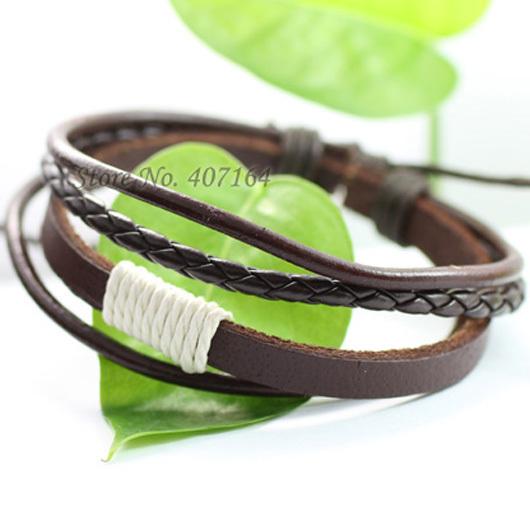 SF44- fashionable jewelry handmade wrap braided genuine leather bracelet Hemp rope men & women - SunFlower Trade Co.,Ltd store
