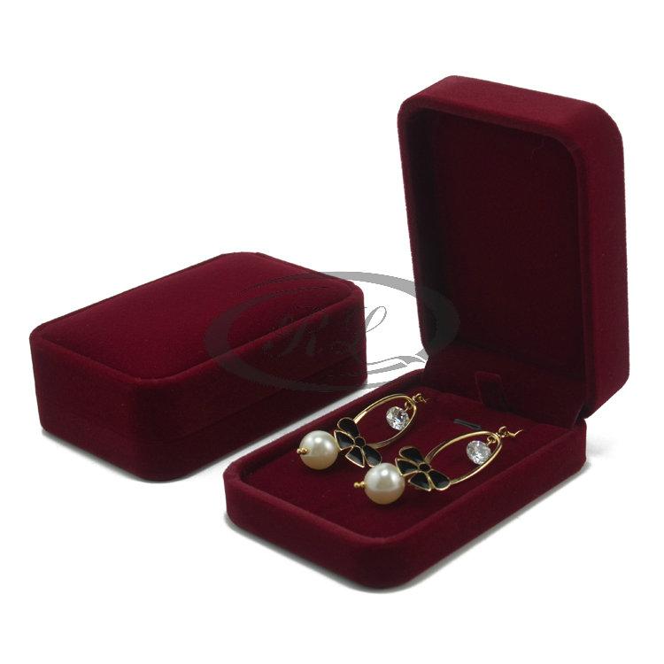 Packing packaging bag packaging box jewelry box plastic box necklace box advanced velvet big purplish red(China (Mainland))
