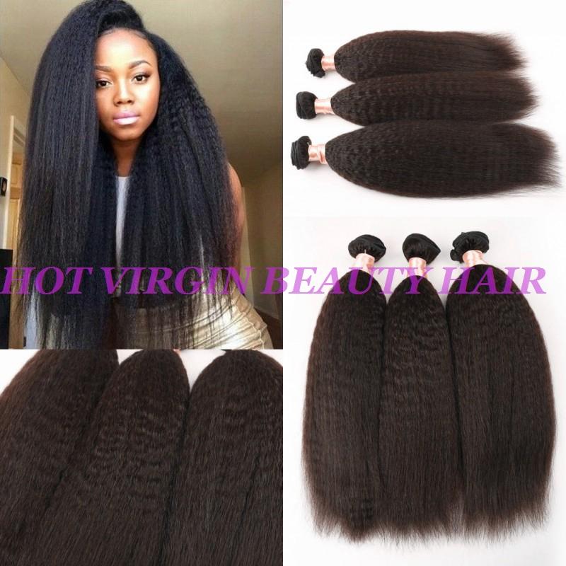 8A Mink Malaysian Virgin Hair Kinky Straight Hair Weave 3Bundles Top Coarse Yaki Hair Cheap Italian Yaki Human Hair Extensions<br><br>Aliexpress
