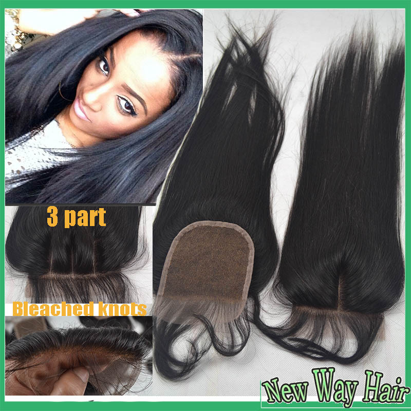 7a 4*4 Virgin Peruvian straight lace closure bleached knots, cheap unprocessed human hair free/middle/3 part closures, free ship(China (Mainland))