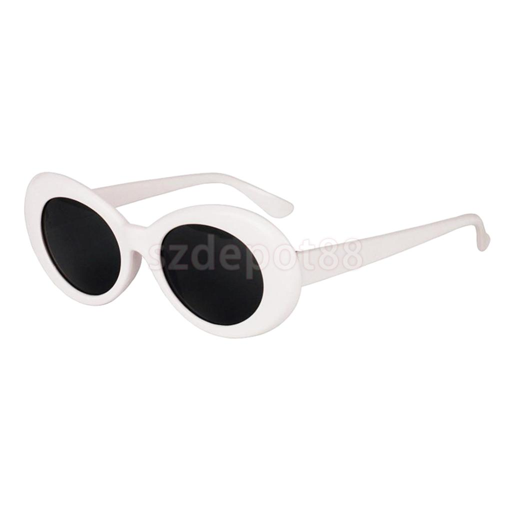 New Design Fashion Retro Clout Goggles Women Glasses Oval Bold Mod Thick Framed Sunglasses White For Outdoor