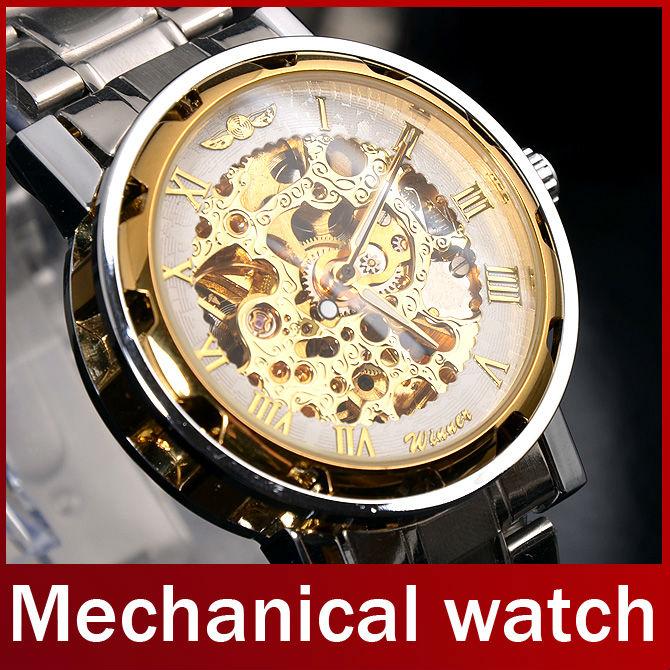 Fashion Brand Winner Full Steel Watch Automatic Skeleton Mechanical Self Wind Men Dress Watch For Men