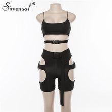 Simenual Streetwear boucle Sexy chaude deux pièces ensembles femmes découpé néon couleur tenues décontracté été Biker Shorts et ensembles haut 2019(China)