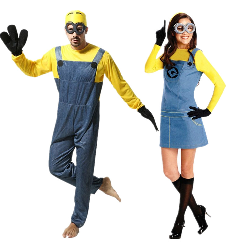 2016 New Adults Men/Womens Minion Costume Halloween Anime Despicable Me Cosplay Costumes Suits Family Party Clothes With Glasses(China (Mainland))
