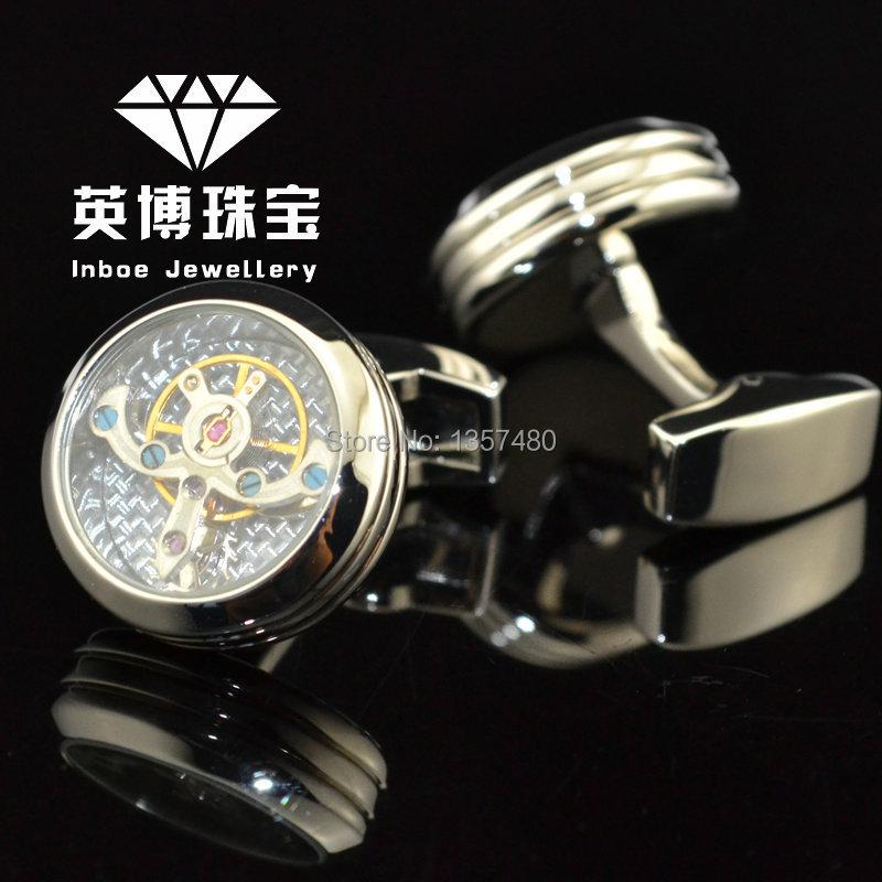 INBOE silver Functional tourbillon mechanical watch cufflinks male French cuff links man men cufflink Gift free shipping 991067<br><br>Aliexpress