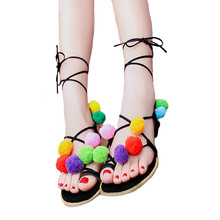 Buy 2017 Cute Furry Colorful Ball Flower Women Sandals Flat Lace Flip Flops Beach Gladiator Sandal Summer Woman Shoes Holiday for $14.09 in AliExpress store
