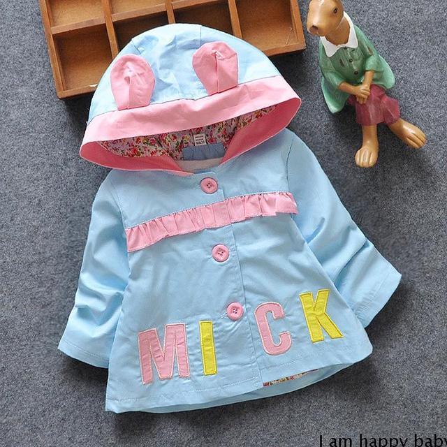 Ребенка кроличьи уши ветровка весной 2016 детская одежда новые печать 0 - 1 - 2 года куртка с капюшоном женский новорожденных девочек хлопок