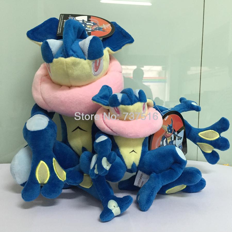 New Pokemon Center 12 '' & 5.5 '' Blue Plush Greninja / Gekoga Stuffed Animal Doll Cute Toys Xmas Christmas Set of 2 Pcs(China (Mainland))