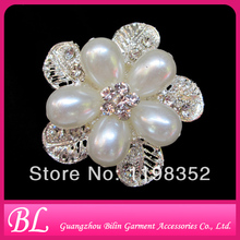 100pieces/lot 55mm wholeasale fashion pearl rhinestone brooch in bulk