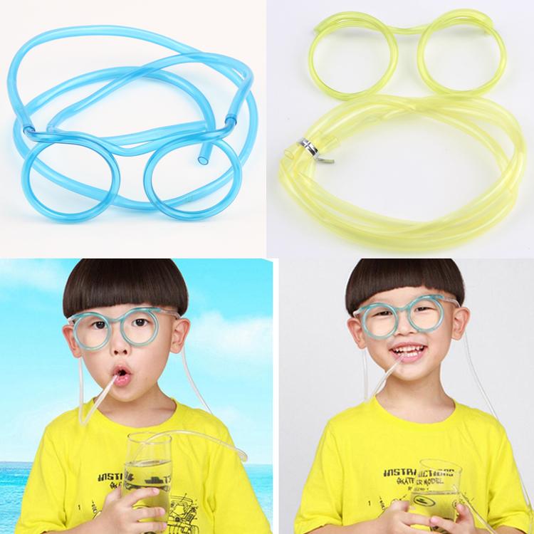 Hot Selling Fashion Cartoon Crazy DIY Straw Straw Creative Fun Funny Glasses Straws Drop Shipping HG-1285(China (Mainland))