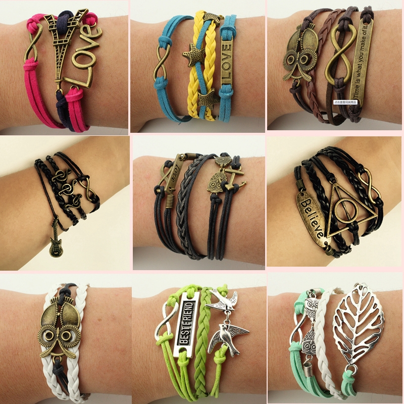 Hot Sale Womens Fashion Vintage Multilayer Bracelets Angel wings Starfish Owl Peace Dove Guitar Promotional discounts Bangles(China (Mainland))