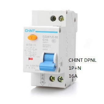 CHINT DPNL 1P N 16A 230V 50HZ 60HZ Residual current Circuit breaker with over current protection