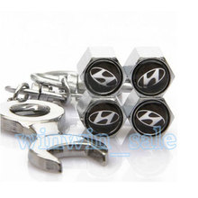 1Set Metal Wheel Tyre Tire Valve Dust Stems Air Caps Cover  Emblem + Wrench Keychain Keyring Fit For Hyundai(China (Mainland))