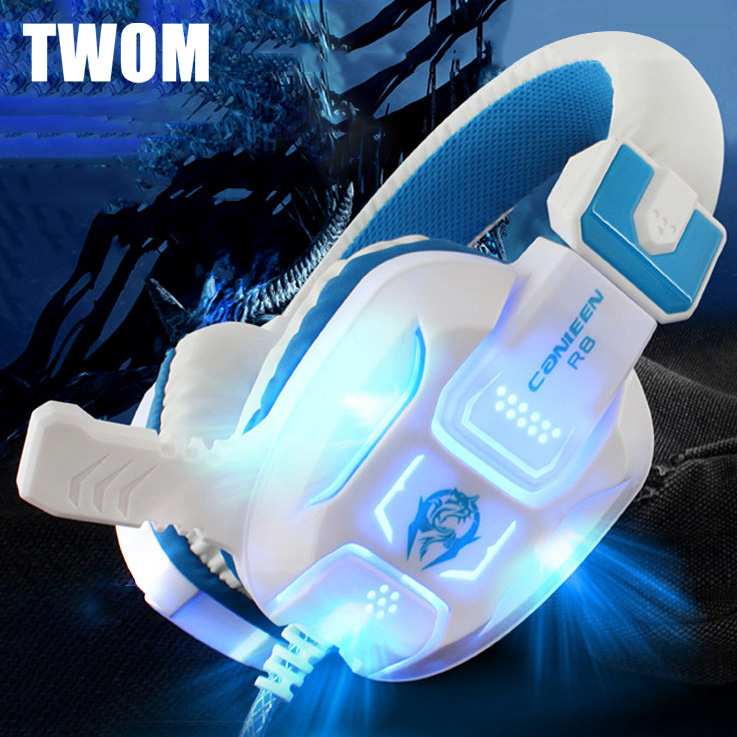 TWOM PC Game Luminous Headset with HD Microphone for Computer Subwoofer Headband Big Headphones Stereo Bass Earphone 40mm Unit(China (Mainland))