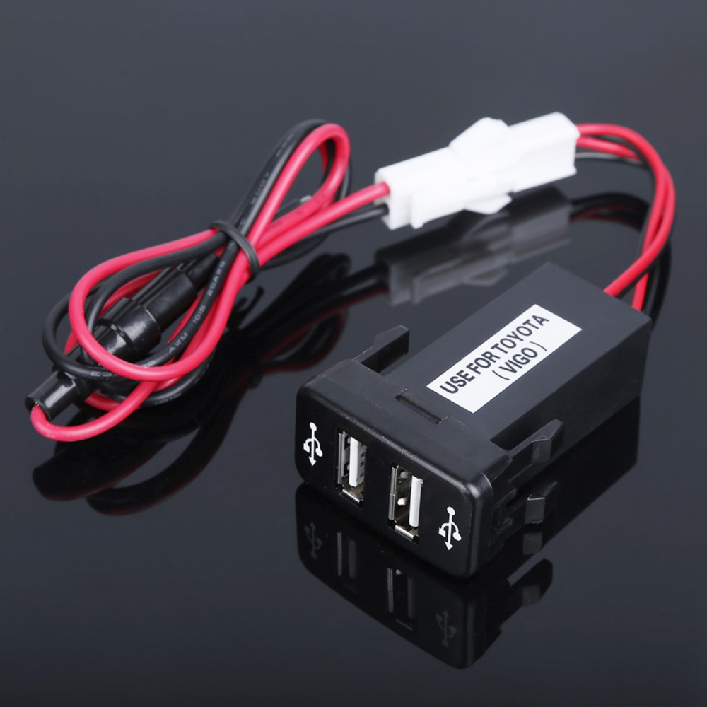 Car 2.1A Dual USB Port Socket + Fuse Cell Phone Charger + Audio Input for Toyota(China (Mainland))