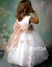 Hot Free Shipping 2013 New Arrival  A-line Flower Girl DressBaby Girl Party Dress with Flowers Sash Custom Made