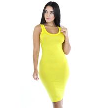 Sexy Women solid color sleeveless High elasticity Knee-Length Slip Dress Vest Base Tight dress 8 colors optional(China)