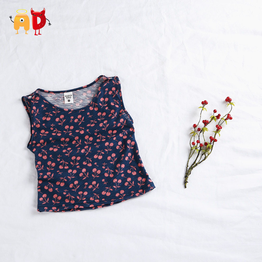 Ad 2 7y cute cherry kids t shirt cotton fabric summer for Cotton fabric for children s clothes