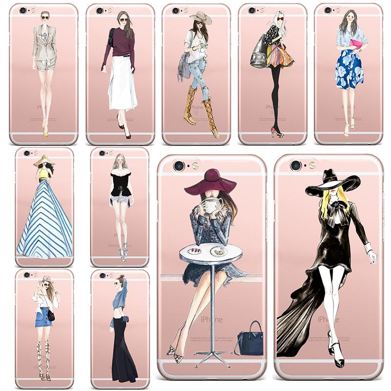 Spring Lemon 2016 New Popular Dress Girl Women Model Fashion Design Soft TPU Case For iPhone 5 5s se 6 6s 6splus 6plus 4 4s(China (Mainland))