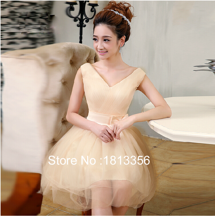 2015 Fashionable Luxury Wedding Chiffon and Satin V-neck A-Line Bow Above Knee,Mini Wedding Dresses(China (Mainland))