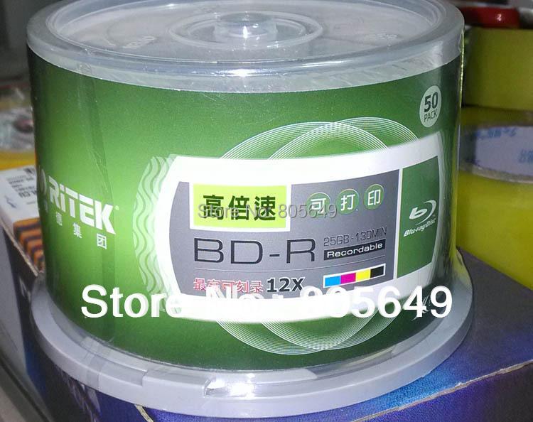 10 PCS/Pack - RITEK BD-R 1-12X 25GB BDR Disc Printable Blue-ray BD-R 12x speed Blank disc (Good as Verbatim Printable DVD DL)(China (Mainland))