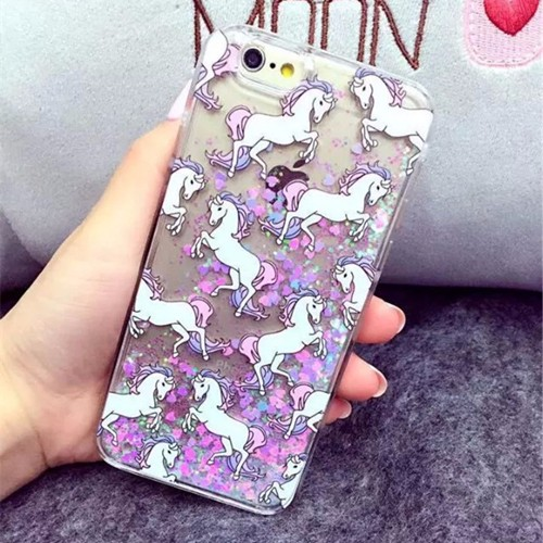Print cute Unicorn Cat Case for iPhone 5 5s Se 6 6S Plus hard PC cover Liquid Glitter Fluorescent Quickcsand coque women girl