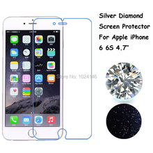 Silver Diamond Front Screen Protector Sparkling Glitter Bling Protective Film With Cleaning Cloth For Apple iPhone 6 6S 4.7 Inch