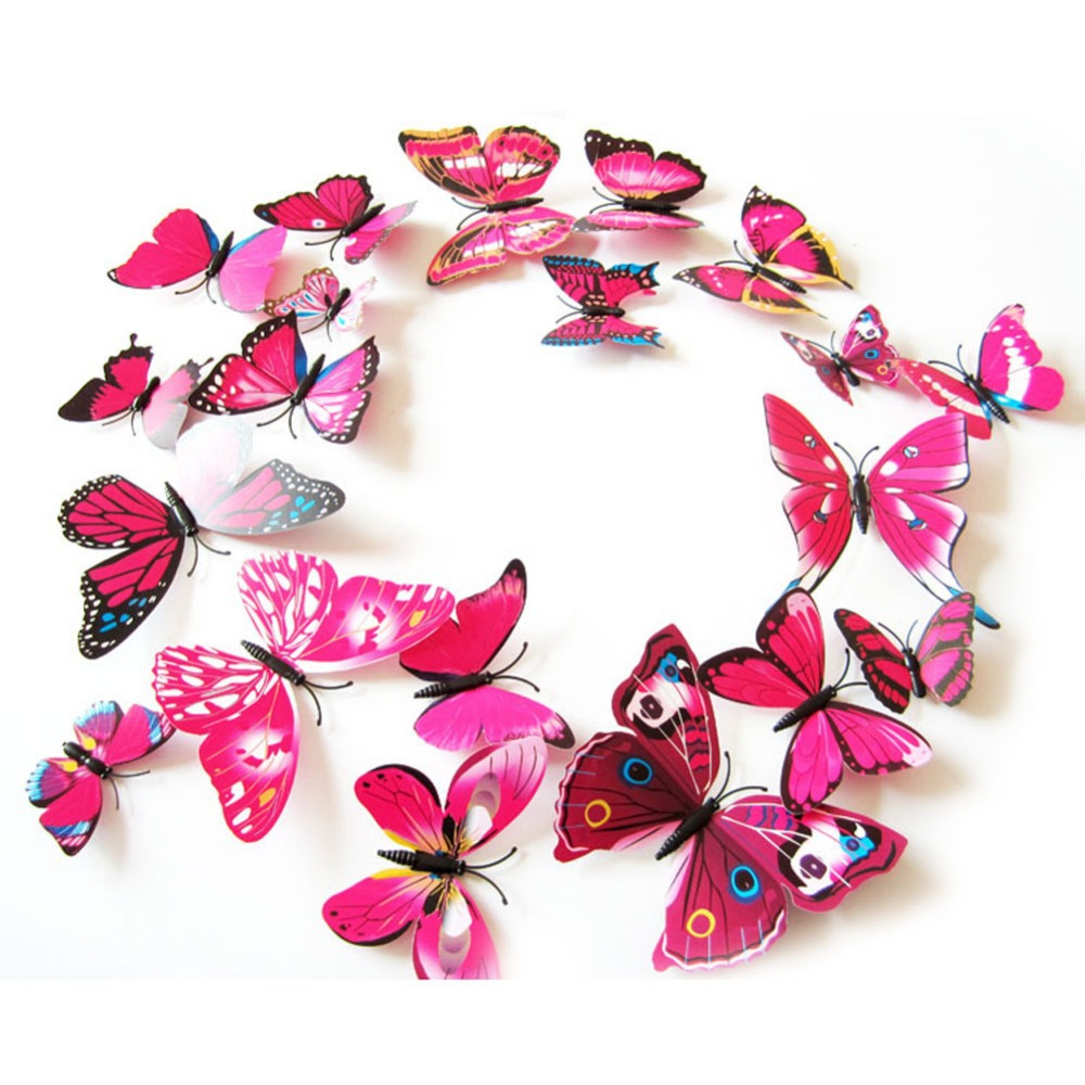 EA14 12PCS 3D PVC Magnet Butterflies DIY Wall Sticker Home Decor Free Shipping