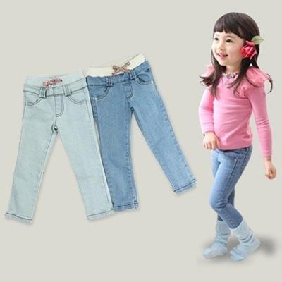 Лето дети в джинсы девочки-младенцы брюки джинсы дети прорезиненная тесьма на поясе ...