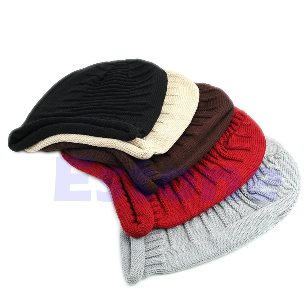 Unisex Winter Plicate Baggy Beanie Knit Crochet Ski Hat oversized slouch Cap