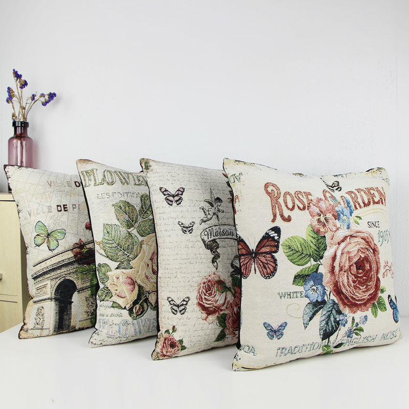 """Jacquard Vintage Cushion Covers Floral Flower Pillow Rose and Butterfly Square 18X18"""" capa de almofada vintage cojines(China (Mainland))"""