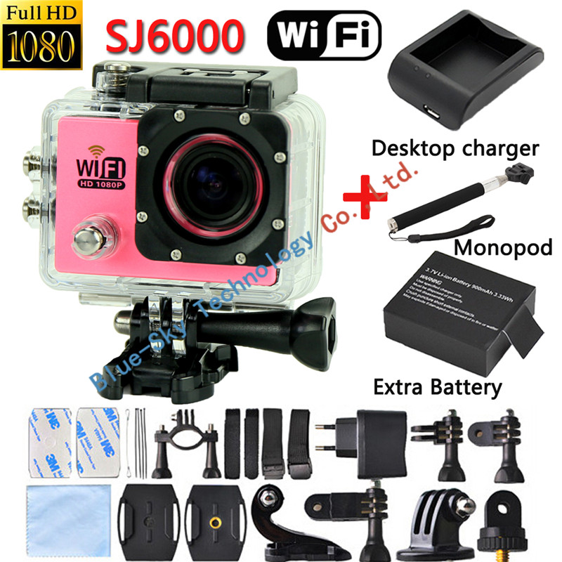 [2xBattery+Monopod+Charger] SJ6000 WiFi Action Camera HD 1080P 2.0LCD Diving 30M Waterproof Sport DV Gopro Style Digital Camera<br><br>Aliexpress