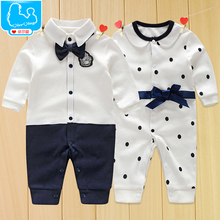 Newborn Baby Boy Rompers 100% Cotton Tie Gentleman Suit Bow Leisure Body Suit Clothing Toddler Jumpsuit Baby Boys Brand Clothes(China (Mainland))