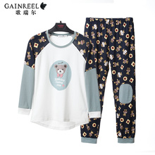Spring song Riel cute cartoon couple cotton pajamas men and women casual long sleeved tracksuit suit