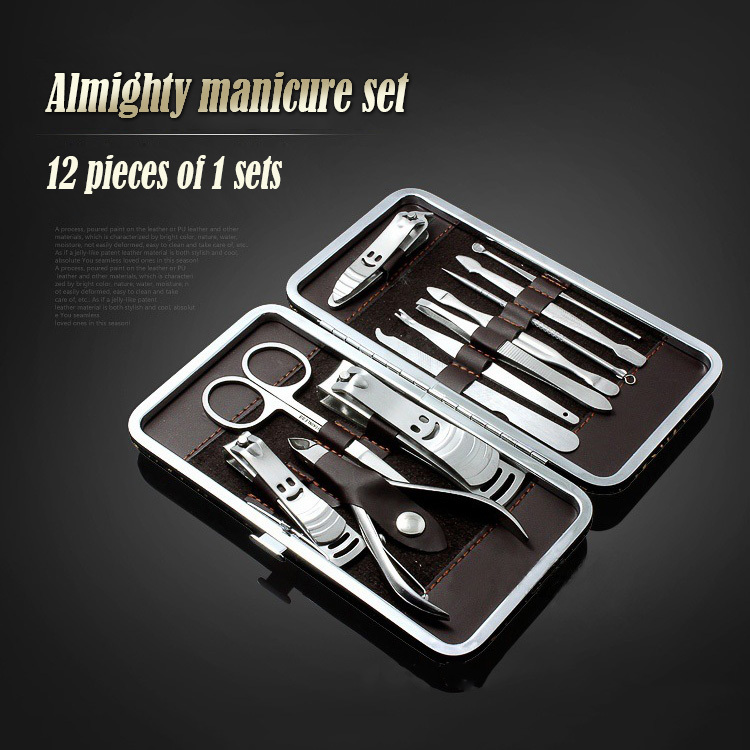 12pcs/set professional Nail tools manicure set Clipper kit Nail Care Set Pedicure Scissor Tweezer Knife Ear pick + outer case(China (Mainland))