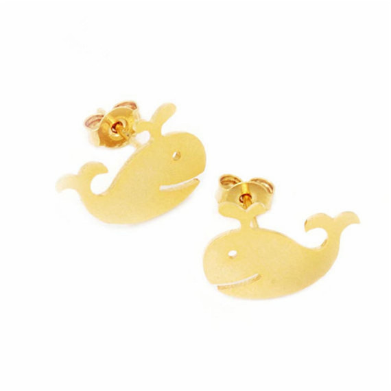 10 pairs/lot 2016 Women Sea Animal Orecchini Donna Whale Vintage Jewelry Stainless Steel Stud Earrings Gold/Silver/Rose Gold - CC Helen store
