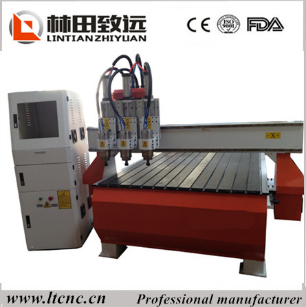 New style vacuum table three press rolls pneumatic tool change system cnc router with dust collection system(China (Mainland))