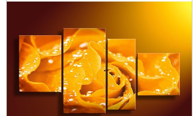 4 Piece Wall Art No Framed Modern Abstract Acrylic Flower Orange Yellow Rose Oil Painting On Canvas No Frames Pictures Decor(China (Mainland))