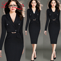 2016 Fashion Work set Women Vintage Stretch Fitted Casual 2 piece Sheath Shift Wiggle Business Wear To Work Dress Women Workwear