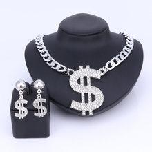 Dollar Schmuck Sets Halskette Armband Ohrringe Ring Frauen Geld Zeichen Gold Farbe Mittlerer Osten/African Schmuckset(China)