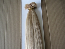 1g/s 200s/pack #24 Natural Blonde Keratin Pre Bonded Hair Extensions 100% Indian Flat Shape Hair Extension Free Shipping(China (Mainland))