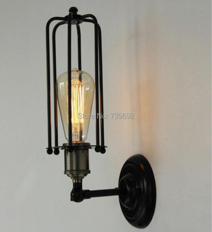 American style Edison wall lamp iron lamp vintage bedside Retro wall lamp,warehouse wall lamp with iron cage lampshade(China (Mainland))