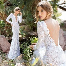 Buy Robe de mariage 2017 Backless Lace Mermaid White Boho Wedding dresses Long Sleeve Sexy Deep V-Neck Wedding Gowns Robe de mariage for $179.00 in AliExpress store