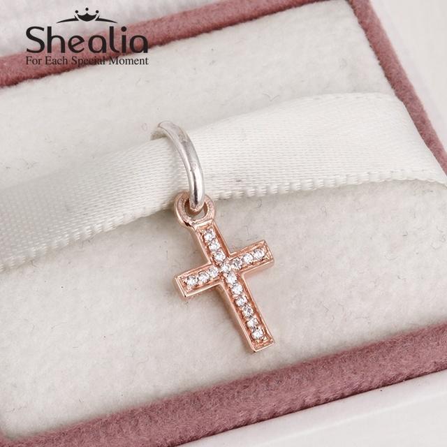 925 чистое серебро и 14 k настоящее розовое золото крестики подвески-талисманы кулон вымощает прозрачный циркон подходит своими руками браслеты SH0580